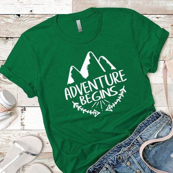 Adventure Begins Premium Tees T-Shirts CustomCat Kelly Green X-Small