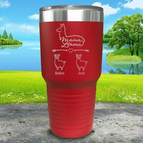 Mama Llama (CUSTOM) With Child's Name Engraved Tumblers Tumbler ZLAZER 30oz Tumbler Red