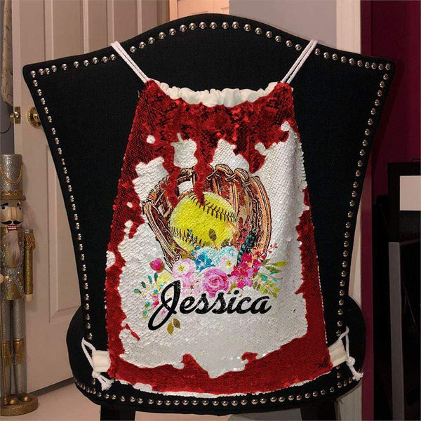 Softball Glove Personalized Magic Sequin Backpacks Sequin Backpack BLINGZ Red