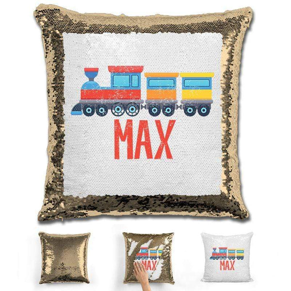 Train Personalized Magic Sequin Pillow Pillow GLAM Gold
