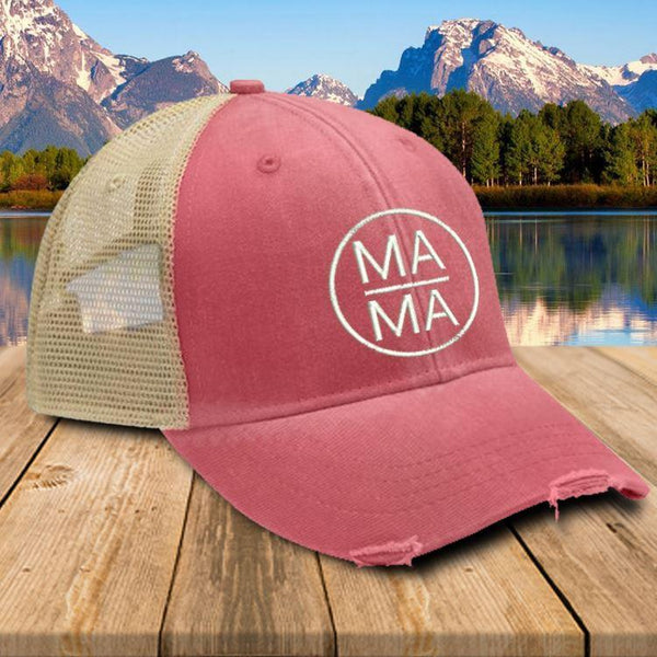 MAMA Trucker Hat Hat Edge Nautical Red