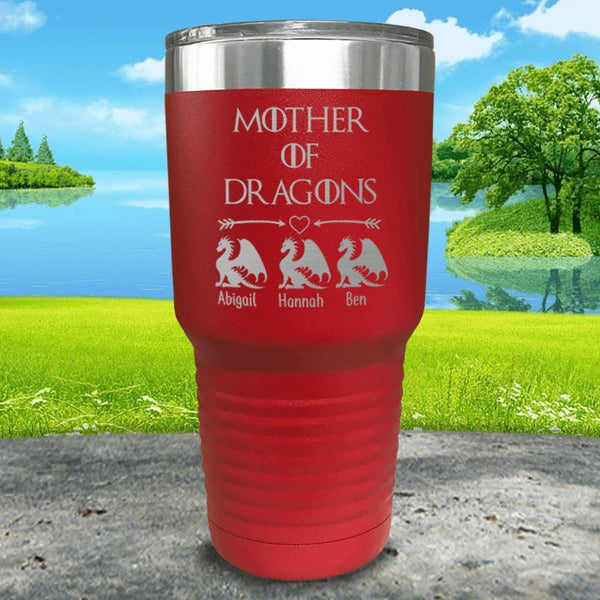 Mother Of Dragons (CUSTOM) With Child's Name Engraved Tumblers Tumbler ZLAZER 30oz Tumbler Red