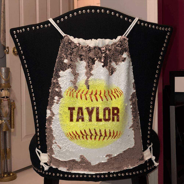 Softball Personalized Magic Sequin Backpacks Sequin Backpack BLINGZ Rose Gold