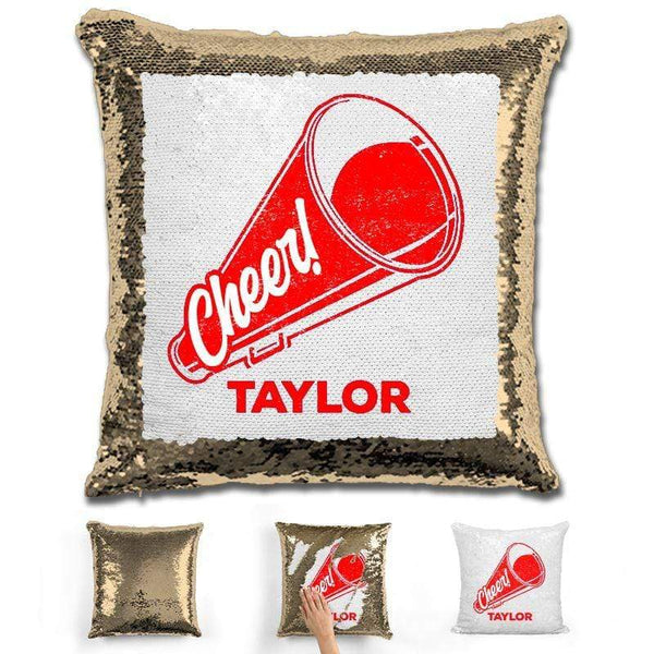 Cheerleader Personalized Magic Sequin Pillow Pillow GLAM Gold Red