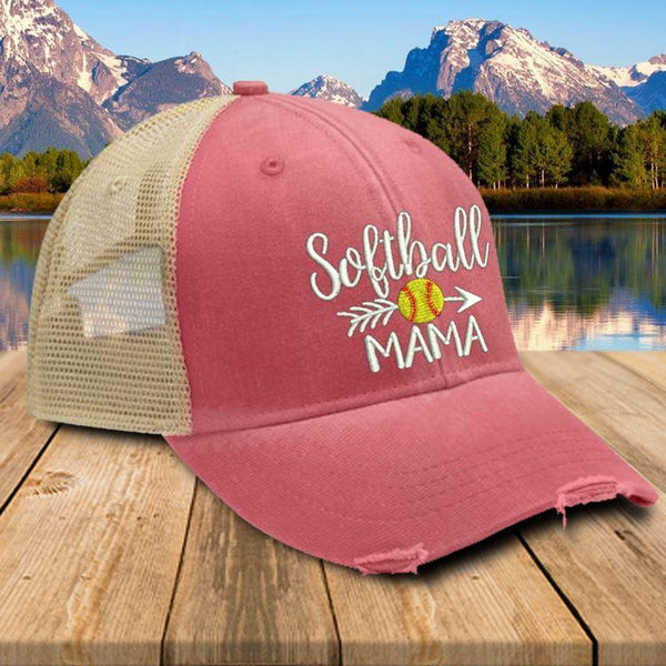Softball Mama Trucker Hat Hat Edge Nautical Red