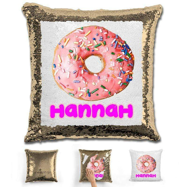 Donut Personalized Magic Sequin Pillow Pillow GLAM Gold