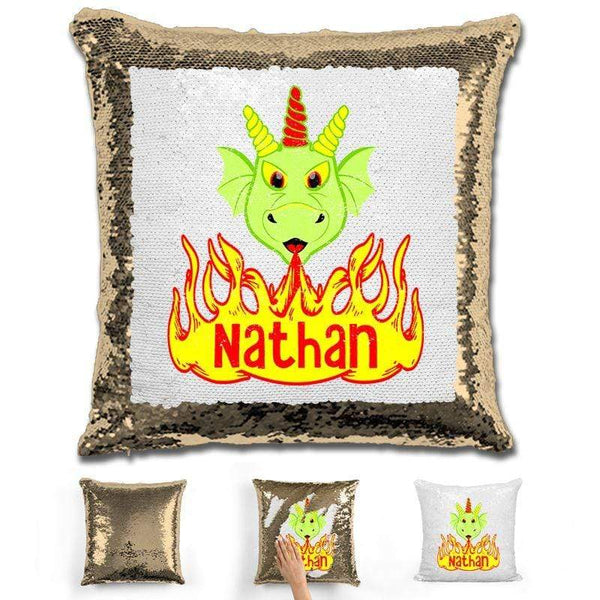 Dragon Personalized Magic Sequin Pillow Pillow GLAM Gold