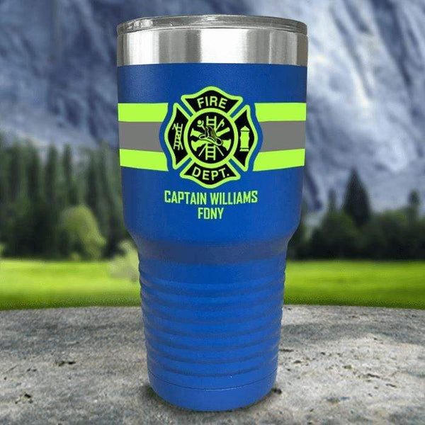 Personalized Firefighter FULL Wrap Color Printed Tumblers Tumbler Nocturnal Coatings 30oz Tumbler Blue