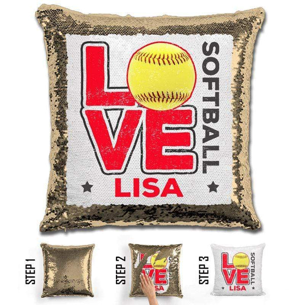 Personalized LOVE Softball Magic Sequin Pillow Pillow GLAM Gold Red
