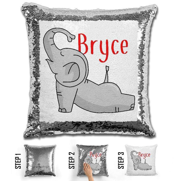 Happy Elephant Personalized Magic Sequin Pillow Pillow GLAM Red
