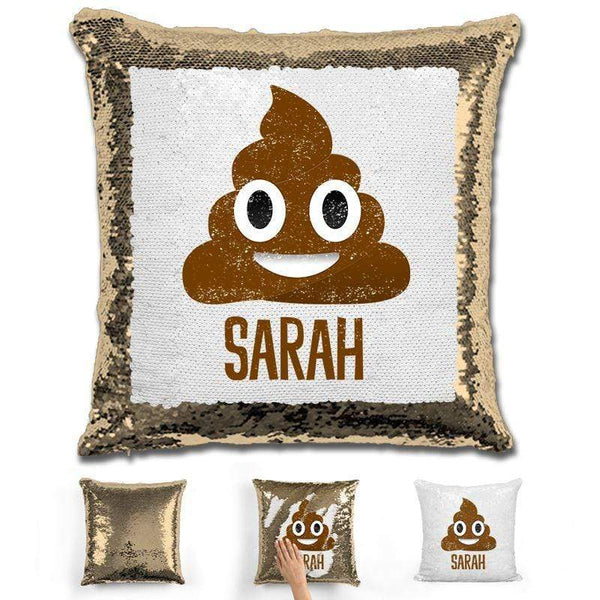 Personalized Poop Emoji Personalized Magic Sequin Pillow Pillow GLAM Gold