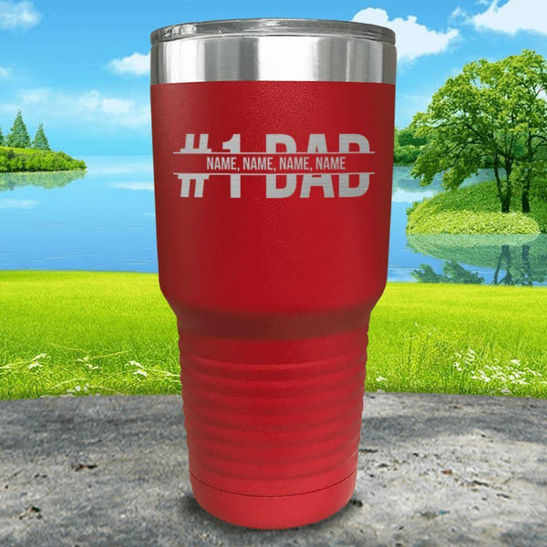 #1 Dad (CUSTOM) With Child's Name Engraved Tumbler Tumbler ZLAZER 30oz Tumbler Red