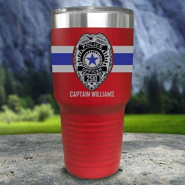 Personalized Police FULL Wrap Color Printed Tumblers Tumbler Nocturnal Coatings 30oz Tumbler Red