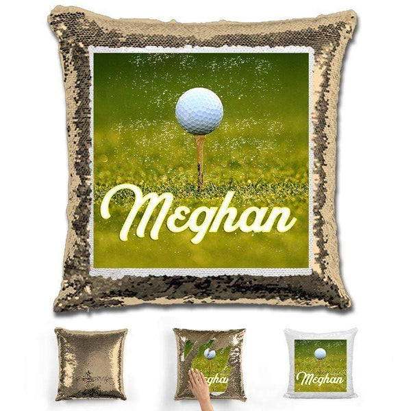 Golf Personalized Flip Sequin Pillow Pillow GLAM Gold