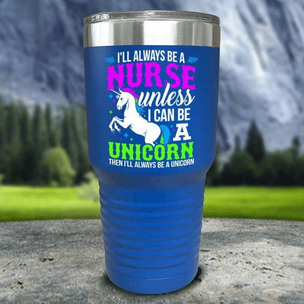 Nurse Unicorn Color Printed Tumblers Tumbler Nocturnal Coatings 30oz Tumbler Blue
