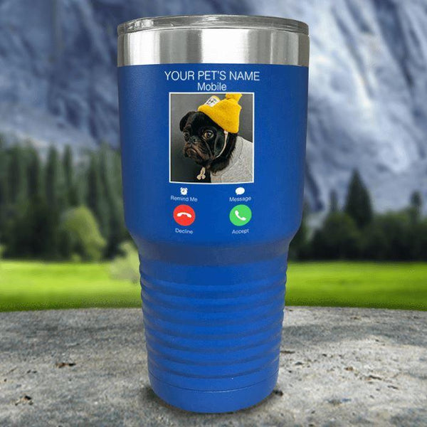Personalized Pet Name & Photo Phone Color Printed Tumblers Tumbler Nocturnal Coatings 30oz Tumbler Blue