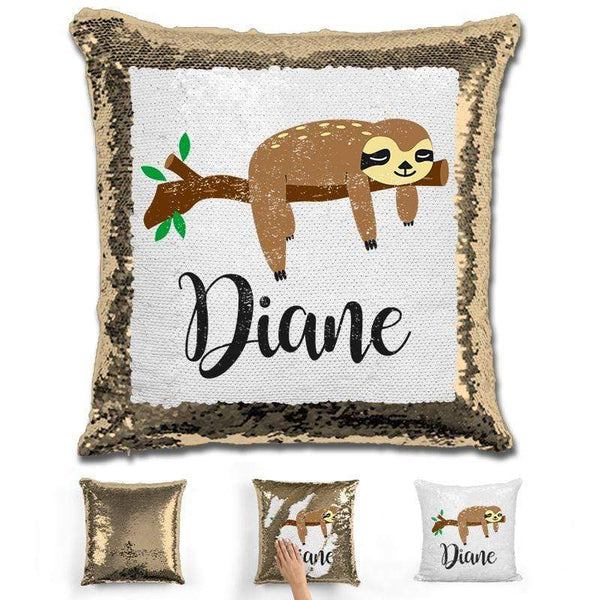 Sloth Personalized Magic Sequin Pillow Pillow GLAM Gold