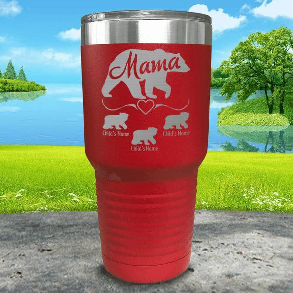 Mama Bear (CUSTOM) With Child's Name Engraved Tumblers Tumbler ZLAZER 30oz Tumbler Red