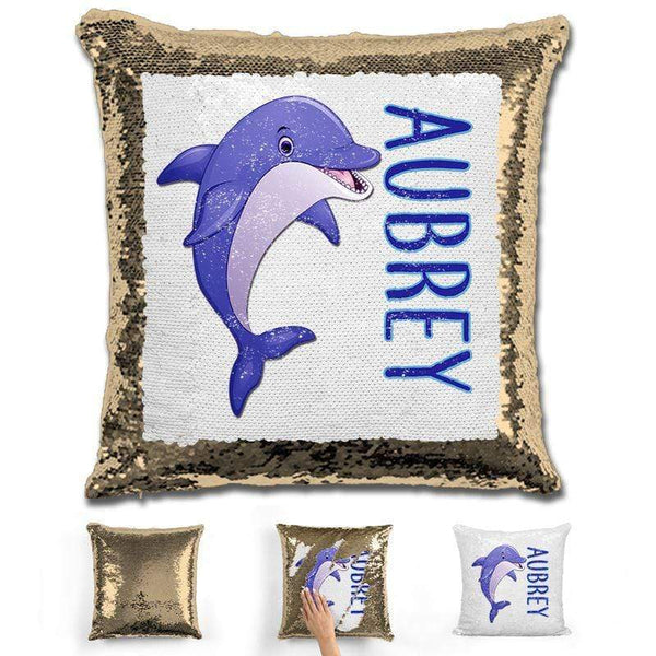 Dolphin Personalized Magic Sequin Pillow Pillow GLAM Gold