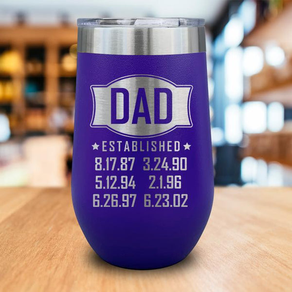 PERSONALIZED Dad Established Engraved Wine Tumbler