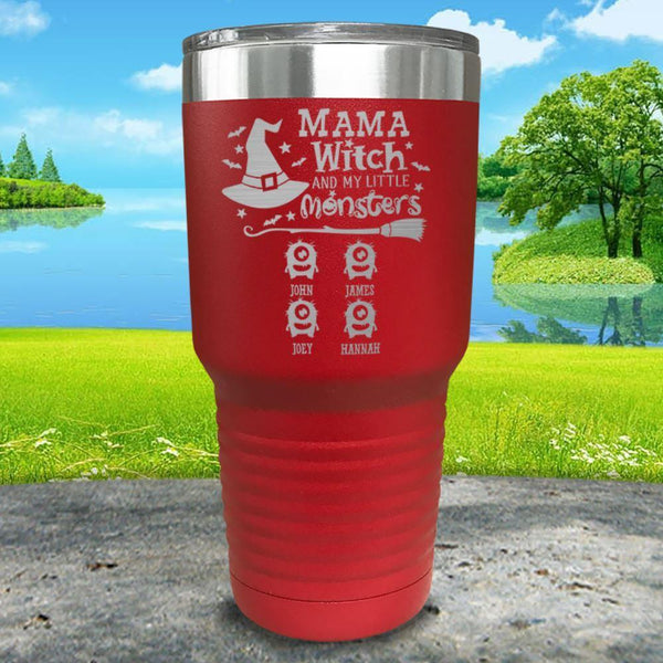 Mama Witch (CUSTOM) With Child's Name Engraved Tumbler Tumbler ZLAZER 30oz Tumbler Red