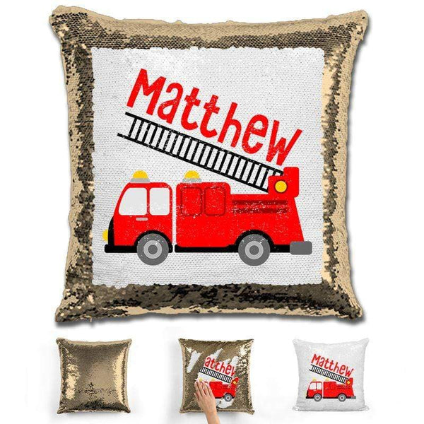 Firetruck Personalized Magic Sequin Pillow Pillow GLAM Gold