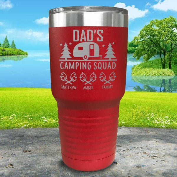 Dad's Camping Squad (CUSTOM) With Child's Name Engraved Tumblers Tumbler ZLAZER 30oz Tumbler Red