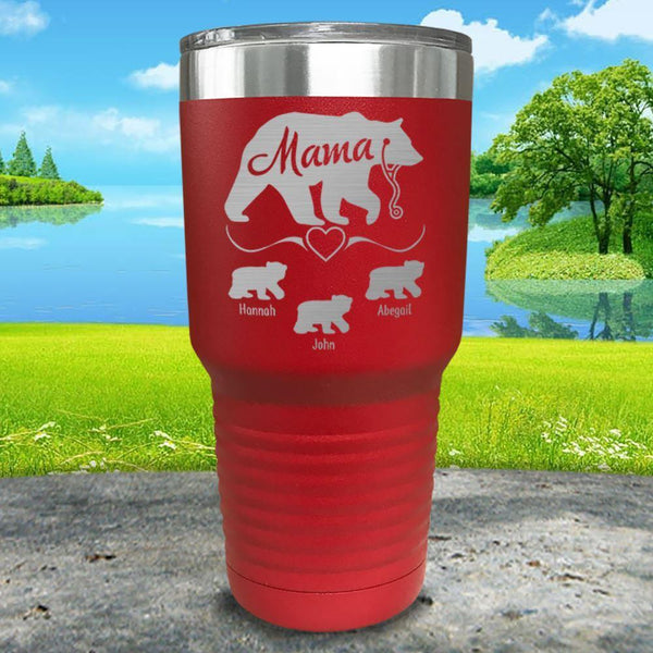 Mama Bear Nurse (CUSTOM) With Child's Name Engraved Tumblers Tumbler ZLAZER 30oz Tumbler Red