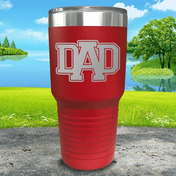 Dad Engraved Tumbler Tumbler ZLAZER 30oz Tumbler Red