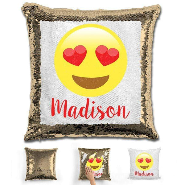 Heart Eyes Emoji Personalized Magic Sequin Pillow Pillow GLAM Gold