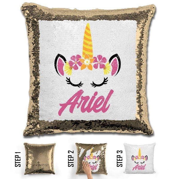 Unicorn Personalized Magic Sequin Pillow Pillow GLAM Gold