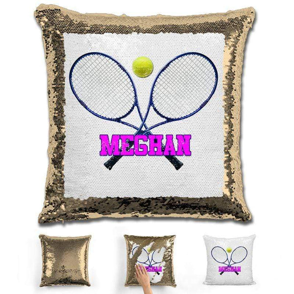 Tennis Personalized Magic Sequin Pillow Pillow GLAM Gold Pink