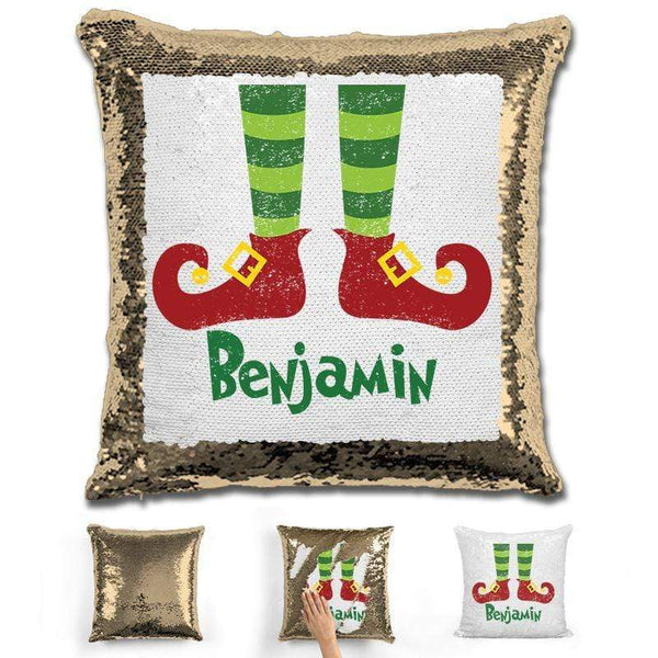 Personalized Elf Legs Christmas Magic Sequin Pillow Pillow GLAM Gold