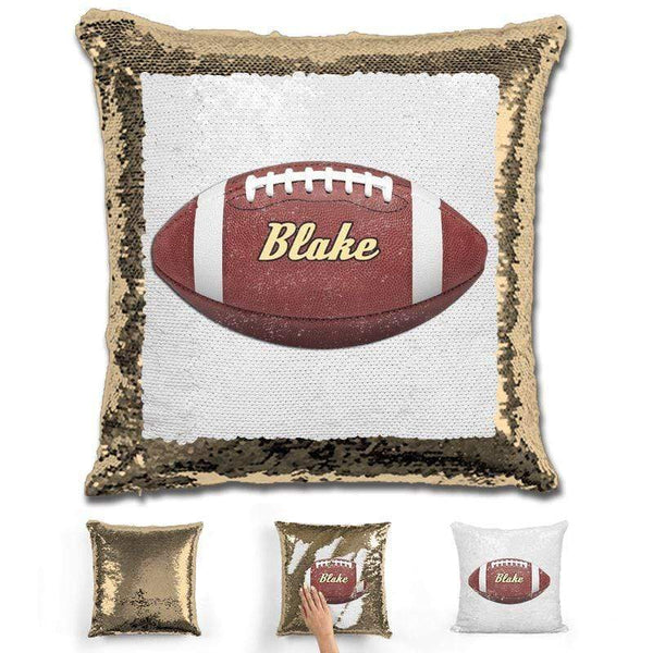 Football Personalized Magic Sequin Pillow Pillow GLAM Gold