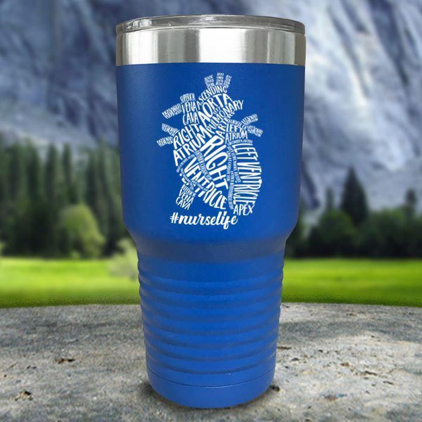 Nurse Descriptive Heart Color Printed Tumblers Tumbler Nocturnal Coatings 30oz Tumbler Blue