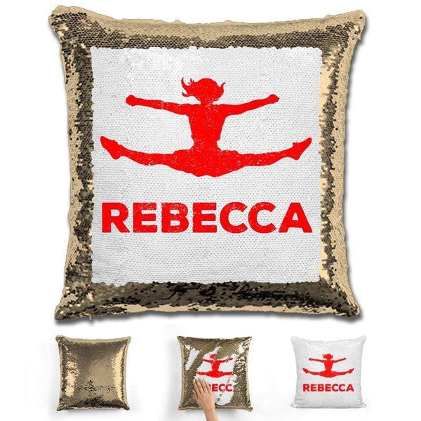 Competitive Cheerleader Personalized Magic Sequin Pillow Pillow GLAM Gold Red