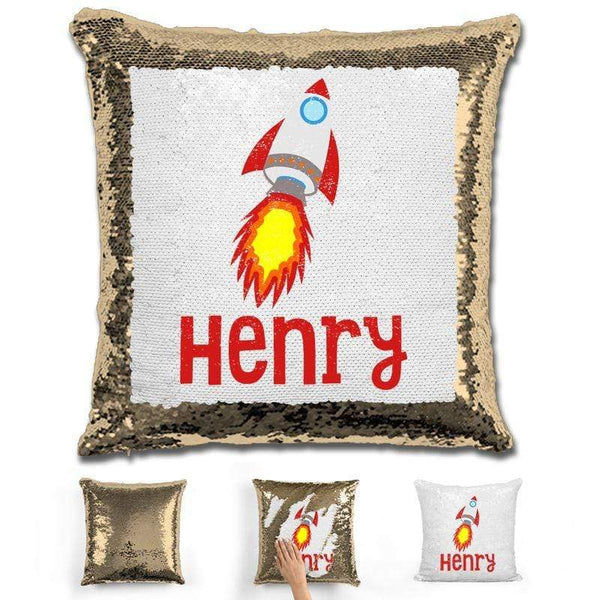 Rocket Ship Personalized Magic Sequin Pillow Pillow GLAM Gold