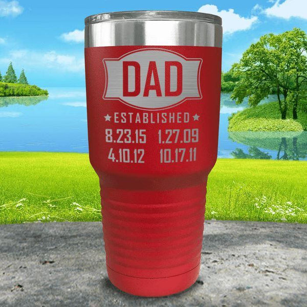 Dad Established CUSTOM Dates Engraved Tumblers Tumbler ZLAZER 30oz Tumbler Red