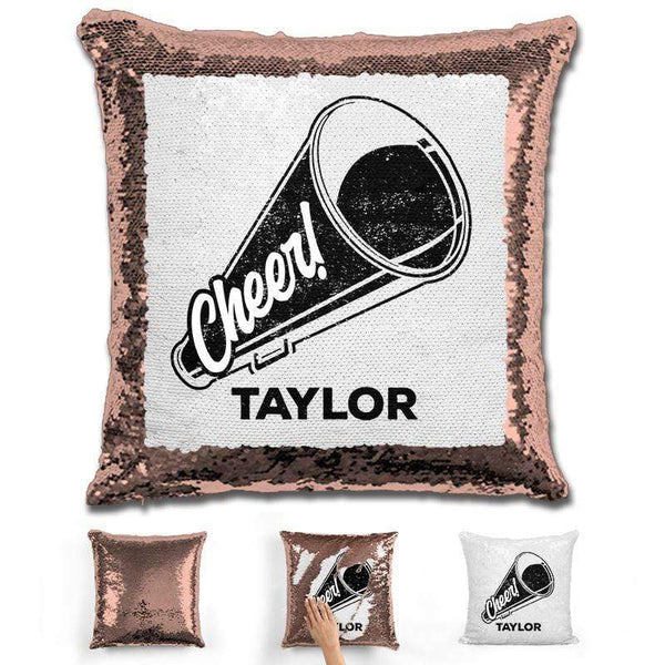 Cheerleader Personalized Magic Sequin Pillow Pillow GLAM Rose Gold Black