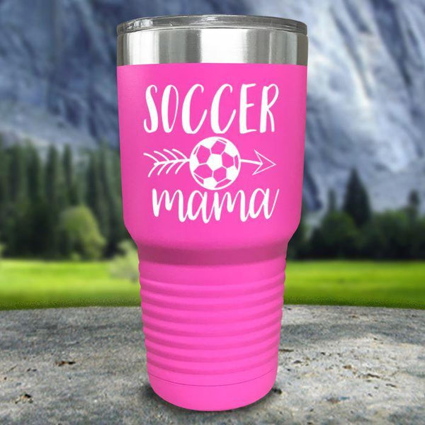 Soccer Mama Color Printed Tumblers Tumbler Nocturnal Coatings 30oz Tumbler Pink
