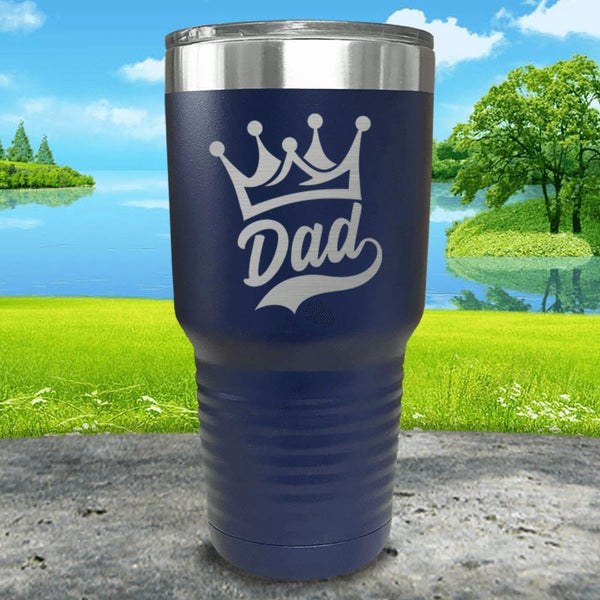 King Dad Engraved Tumbler Tumbler ZLAZER 30oz Tumbler Navy