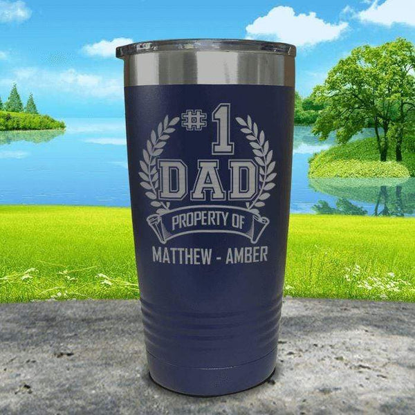 CUSTOM #1 Dad Engraved Tumblers Tumbler ZLAZER 20oz Tumbler Navy