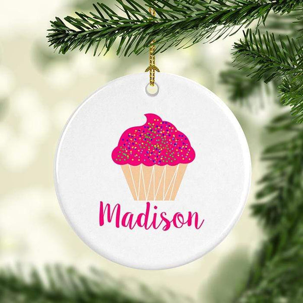 Cup Cake Personalized Ceramic Ornaments