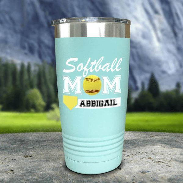 Personalized Softball Mom Color Printed Tumblers Tumbler Nocturnal Coatings 20oz Tumbler Mint