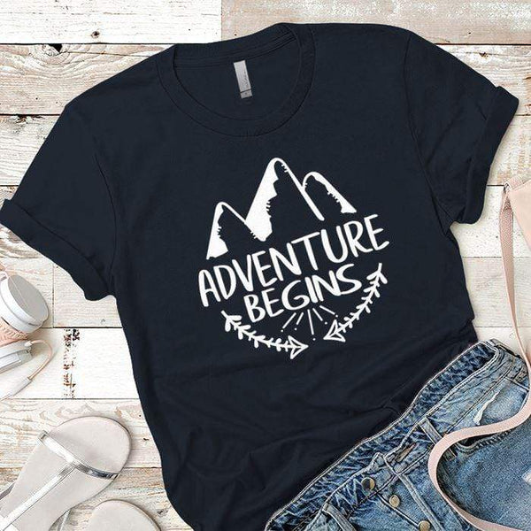Adventure Begins Premium Tees T-Shirts CustomCat Midnight Navy X-Small