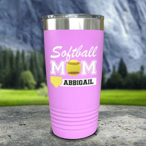 Personalized Softball Mom Color Printed Tumblers Tumbler Nocturnal Coatings 20oz Tumbler Lavender