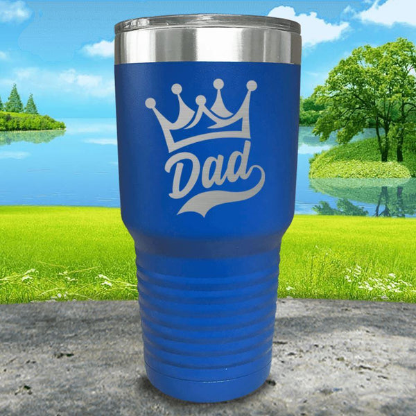 King Dad Engraved Tumbler Tumbler ZLAZER 30oz Tumbler Blue