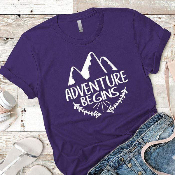 Adventure Begins Premium Tees T-Shirts CustomCat Purple Rush/ X-Small