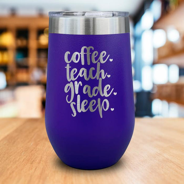 Coffee Teach Grade Sleep Engraved Wine Tumbler