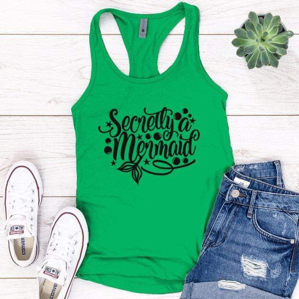 Secretly Mermaid Premium Tank Tops Apparel Edge Kelly Green S